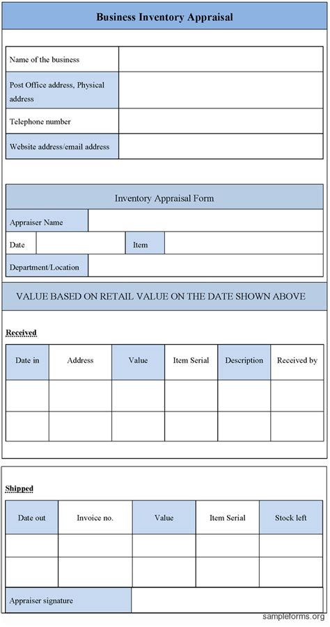 Business Inventory Appraisal Form Sle Forms Equipment Appraisal Form Template
