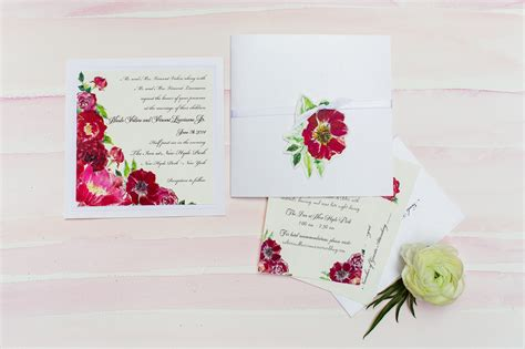 painted watercolor wedding invitations watercolor flower wedding invitations momental
