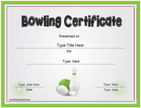 bowling certificate template certificate free award certificate templates no