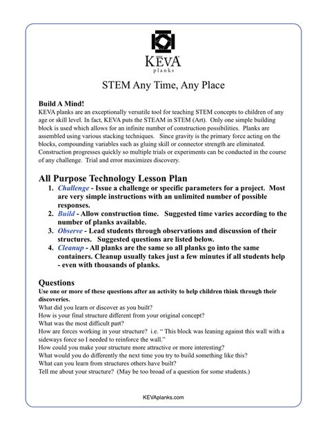 Lesson Plans Challenges Games Activities Keva Planks Stem Planning Template