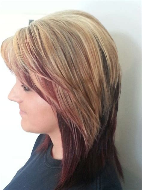 blonde and burgundy hairstyles honey blonde with burgundy my hair creations pinterest