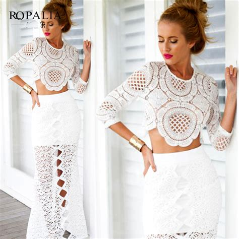 White Hollow Dress Sml cheap high quality ropalia lace hollow crop