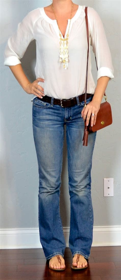 bootcut jean outfits for 2015 outfit post white smocked crepe blouse bootcut jeans