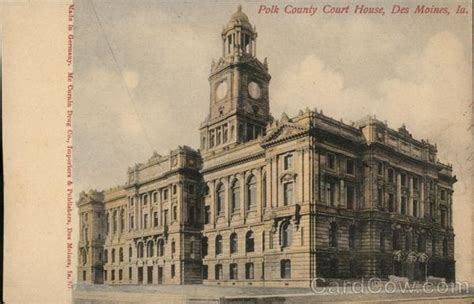 Polk County Ia Court Records Polk County Court House Des Moines Ia Postcard