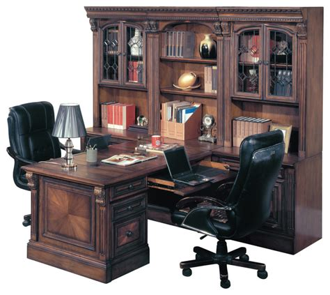 Office Wall Units With A Desk Huntington Office Peninsula Desk Wall Unit 8 Traditional Desks And Hutches By