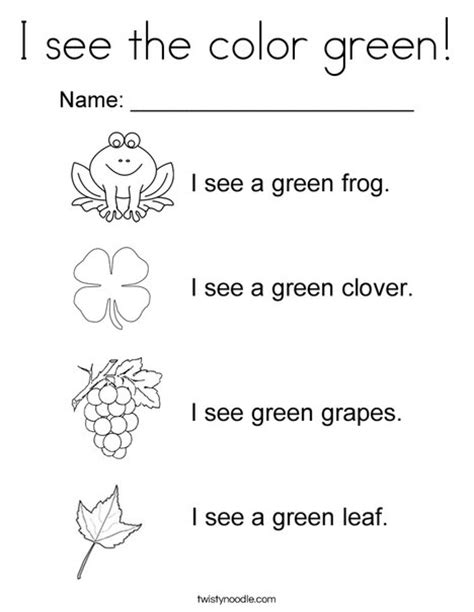 preschool coloring pages color green i see the color green coloring page twisty noodle