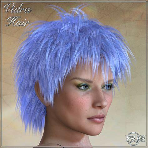 vidra hair for poser 3d figure assets prae