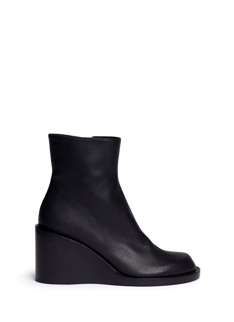 demeulemeester leather wedge ankle boots in black lyst