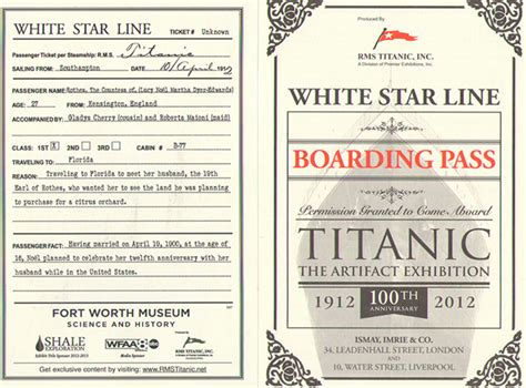 printable titanic boarding pass template the fort worth museum of science and history titanic