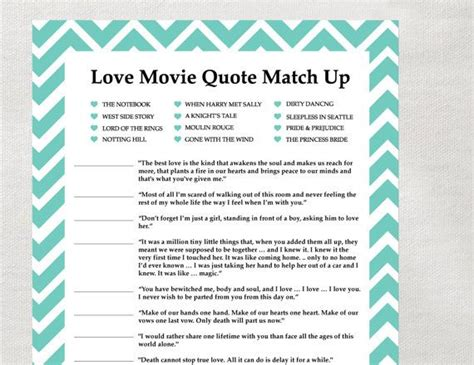printable movie quotes game love quotes for bridal shower quotesgram