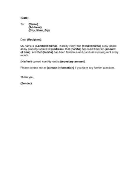 Exle Letter From Landlord Proof Of Rent Landlord Proof Of Residency Template
