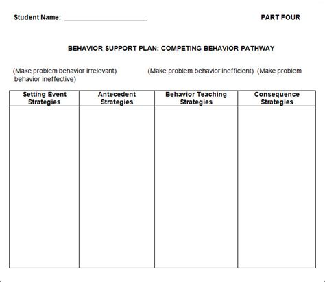 Behavior Support Plan Template by Behavior Plan Template 3 Free Word Pdf Documents
