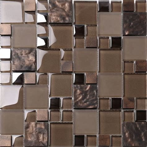 brown tile backsplash brown glass mosaic kitchen backsplash tile 12 quot x 12 quot sheet contemporary mosaic tile by