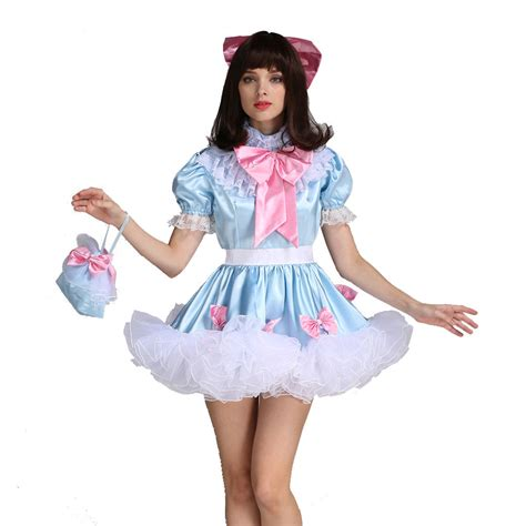 Sissy Dress forced sissy lockable bow dress stain