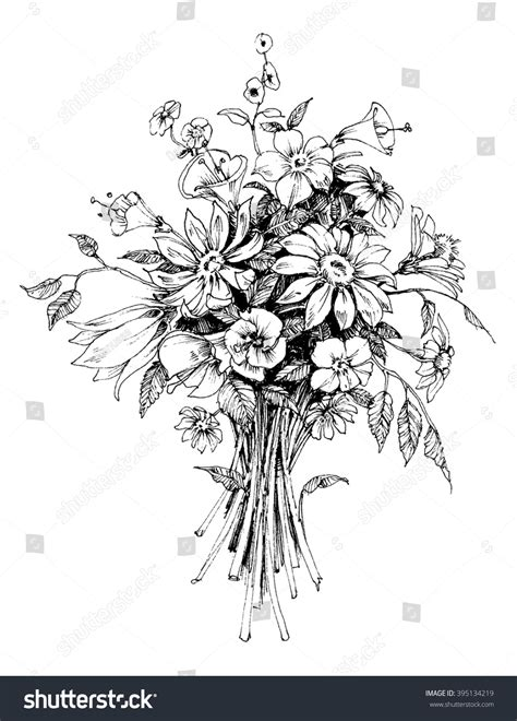 Wedding Flower Bunch by Bunch Flowers Bridal Bouquet Sketch Stock Vector 395134219
