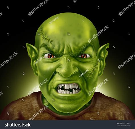 ugly green monster head with green skin rotten teeth and stitches