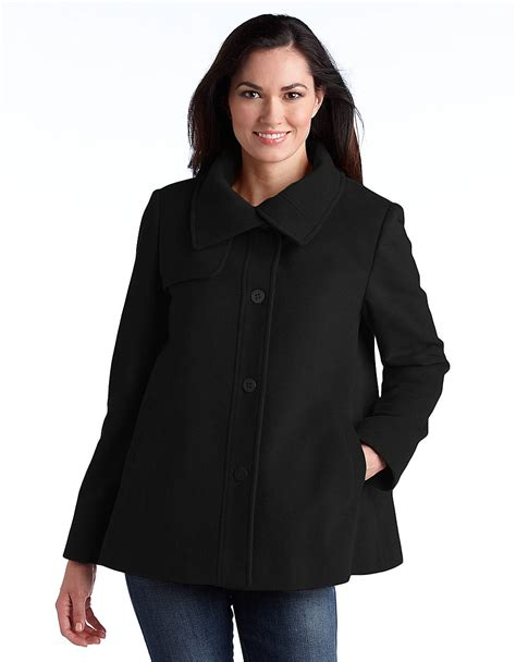 womens black swing coat ellen tracy wool blend swing coat in black lyst
