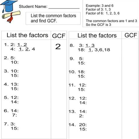 Greatest Common Factor Worksheets by Greatest Common Factor 1to 20 From Study Website