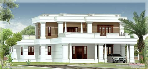 Home Design Roof Plans by 4 Bedroom Flat Roof Villa House Design Plans