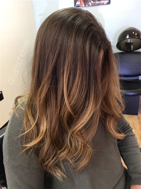 photos brown hair with blpnde ends balayage honey