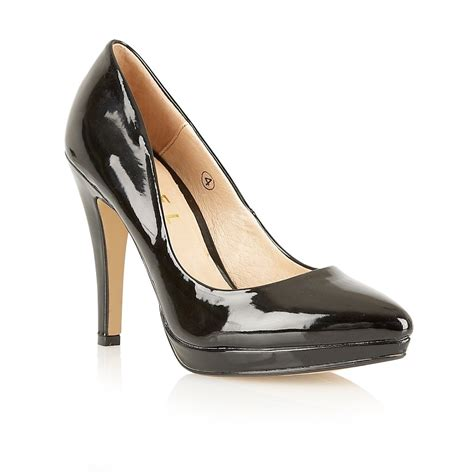 ravel snapdragon pointed toe court shoe black patent