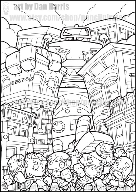 robot coloring pages pdf robot destroyer colouring page adult colouring book page