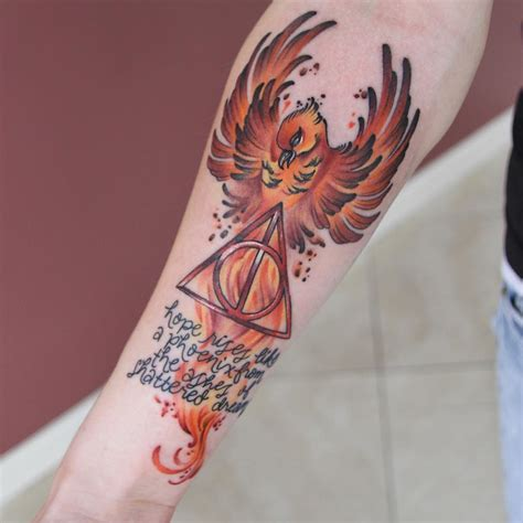 harry potter phoenix tattoo 50 insanely harry potter tattoos that are truly