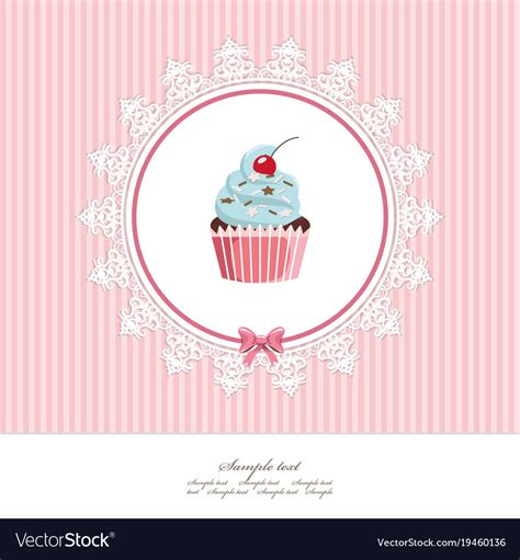 birthday card template free vector greeting card template with cupcake for birthday vector image