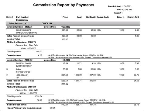 sle invoice for commission component control invoice management