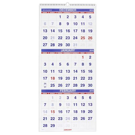 Calendar 3 Month View Printable At A Glance Wall Calendar 2016 Vertical 3