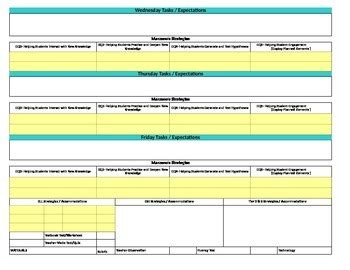 lesson plan template florida florida standards marzano interactive lesson plan template