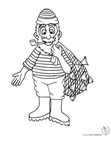 coloring page of fishing net print fisherman with fish net for coloring
