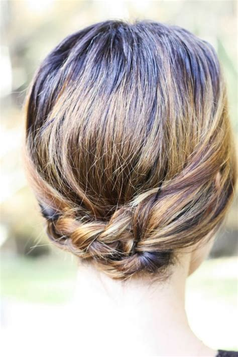 feathered hair into nape of neck 20 great updo styles for short hair styles weekly