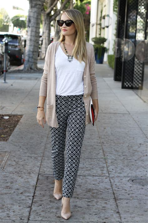 black and white pattern pants outfit perfectly printed the style editrix