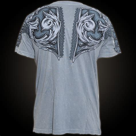 affliction t shirt gladiator in grey with breastplate