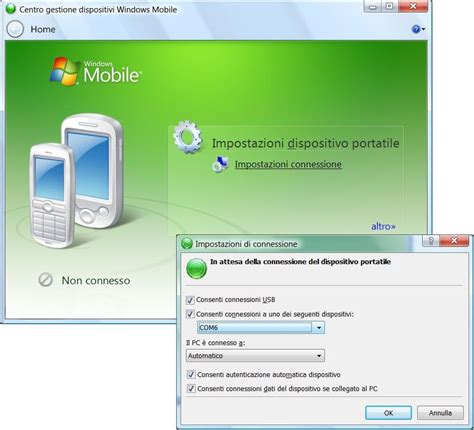 centro dispositivi windows mobile windows 7 come stabilire connessione activesync via bluetooth fra
