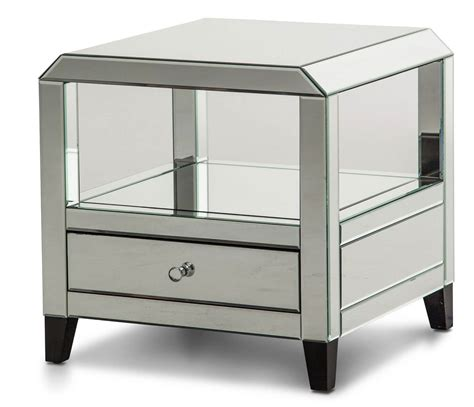 mirrored table with drawers aico mirrored square accent table with drawers