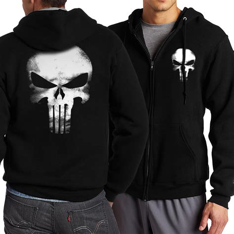 Sweater Hoodie The Puniser Best Clothing the punisher skull hoodies zipper fitness casual