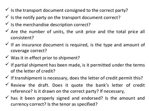 Letter Credit Transhipment Types Of Letter Of Credits On 11 09 2012