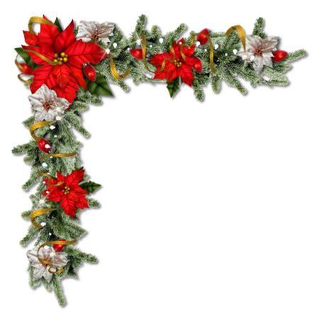 pretty christmas floral corner  poinsettias  png