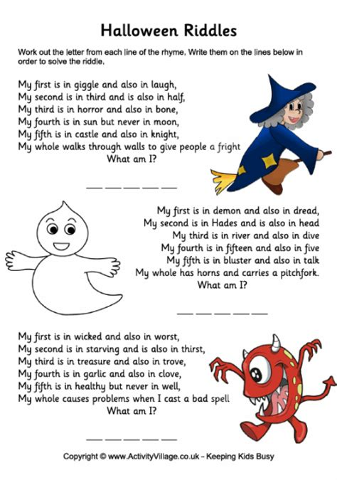 Printable Halloween Jokes And Riddles | halloween riddles halloween puzzles for kids