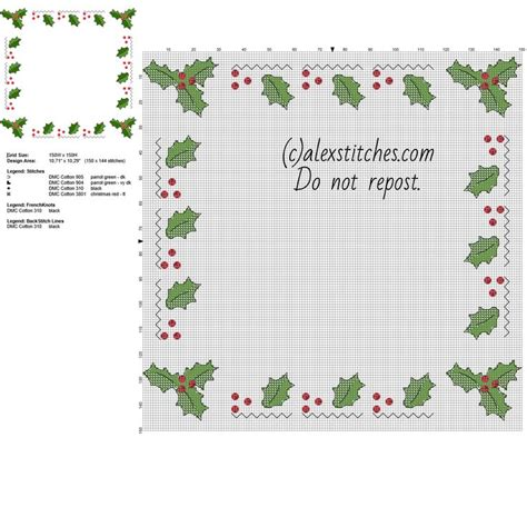 christmas pattern border cross stitch border with christmas holly leaves free