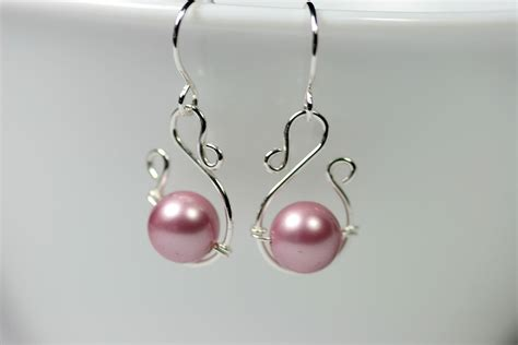 Handmade Earing - pink pearl earrings wire wrapped jewelry handmade sterling