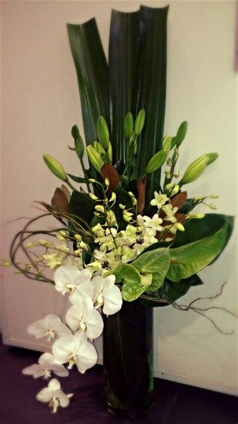 corporate flowers green white corporate vase arrangement with