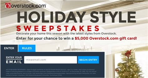 Overstock Sweepstakes - overstock holiday style sweepstakes win a 5k gift card