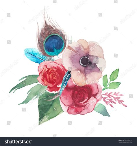 shabby chic style floral bouquet watercolor shabby chic flowers bouquet stock vector 262960757
