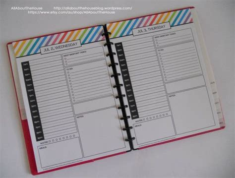 free printable arc planner pages daily planner day planner printable day to a page half