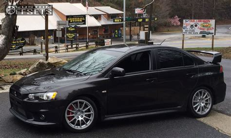 silver mitsubishi lancer black rims wheel offset 2014 mitsubishi lancer nearly flush dropped 0