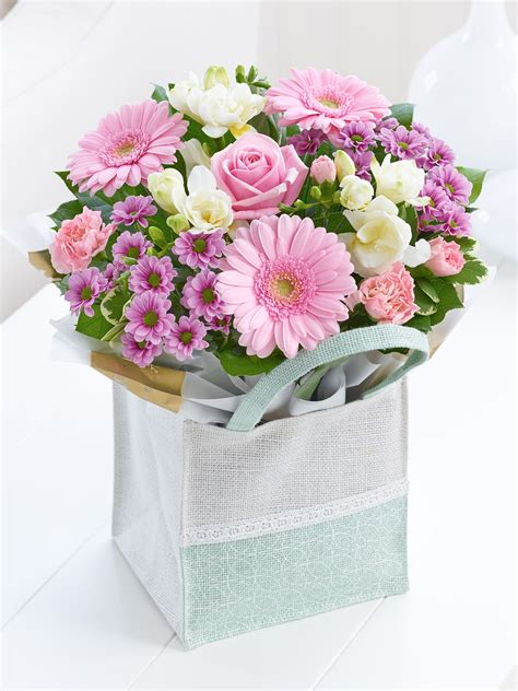 Flower Gift by Pink Gift Bag Cooks The Florist