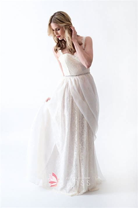Floor Length Wedding Dress by Ivory Lace And Chiffon A Line Floor Length Wedding Dress